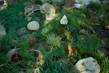 oregon cascades: Japanese garden with stones, figurines and different types of plants