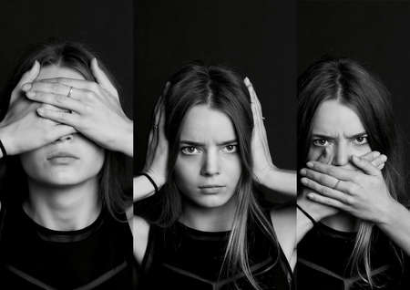 collage see no evil, hear no evil, speak no evil. Collage. The girl with long hair in b W