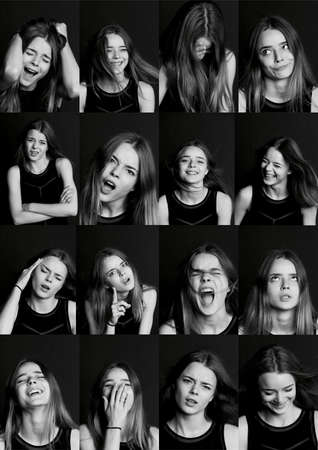 manifestations: Collage with different types of human emotion. The diversity of their manifestations. Collage