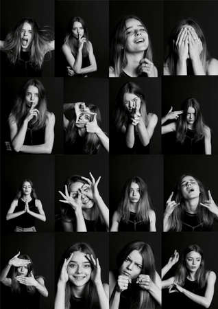 face expressions: Collage with different types of human emotion. The diversity of their manifestations. Collage