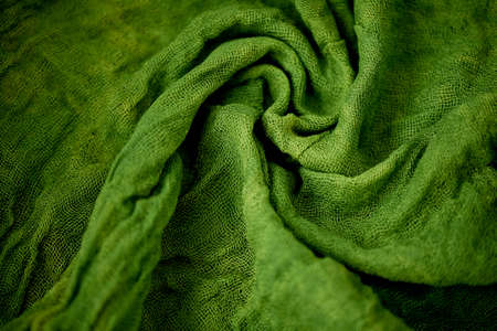 twisted: Textured, twisted into a flower gauze. Green Close