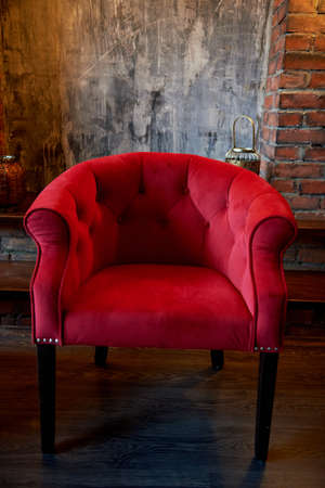 the red velvet armchairs. Retro furniture. Beautiful and elegant