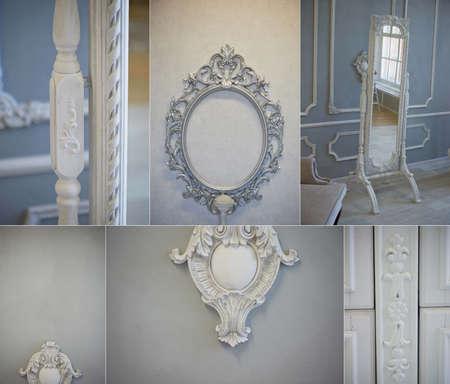antique furniture: Decorative molding ornaments on the gray wall. Classic decor. Retro