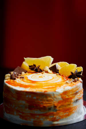 Carrot cake .Bright,juicy and unusual cake. Juicy and incredibly nutty A layer of caramel sponge cake successfully emphasizes. Stock Photo