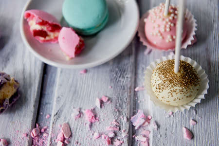 Beautiful sweets pastel shades on a beautiful wooden background. Aesthetic picture. dining, cooking, for childrens parties Stock Photo