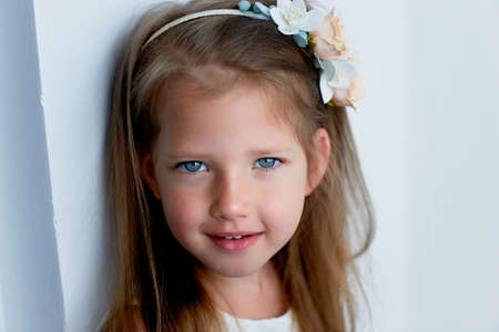 pinched: Charming girl with long ash-blond hair , lively blue eyes and a pinched nose, bezel,handmade