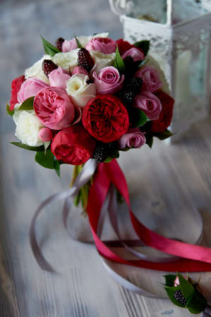 Wedding Bridal Bouquet In Red, Pink, White. Wedding Flowers,.. Stock ...
