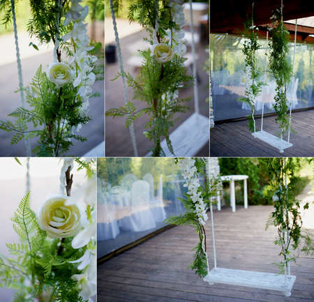 decorate: Wedding swing decorated with flowers hanging on the branches of the old willow