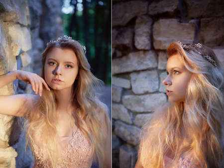 Portrait of a beautiful bride blond girl in pink lace dress ,hair decoration, handmade. Tenderness. Standing amid the old walls of stones, manual clutch. Hard interesting sunset color