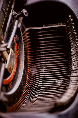 Details of old typewriter in rust and dust. Retro