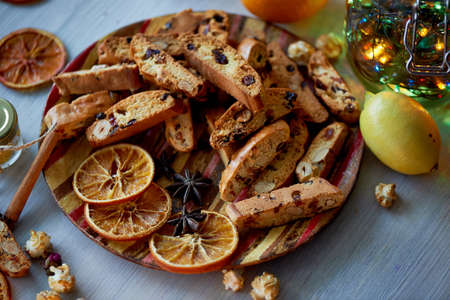 Cookie biscotti with citrus. The atmosphere of warmth and coziness.