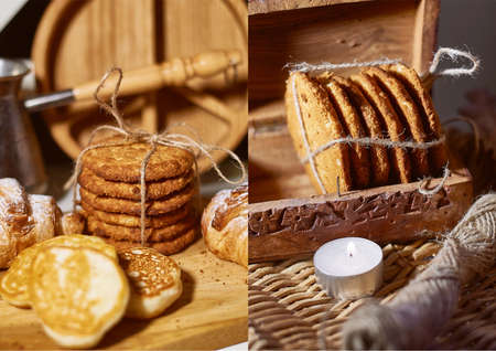 Oatmeal cookies, tied with a jute rope in a wooden box. Rustic retro style