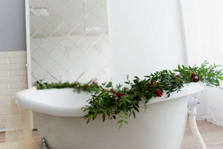 Decorative decoration of flowers. Greens, roses Bath decor Zdjęcie Seryjne