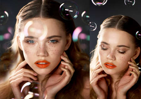 Portrait of young beautiful girl in Studio, with professional makeup.Beauty shooting.The beauty of soap bubbles. The rainbow flares