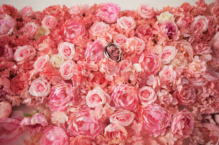 The size. Pink flowers. Densely decorated wall Decor
