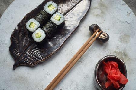 Japanese cuisine on handmade ceramics.