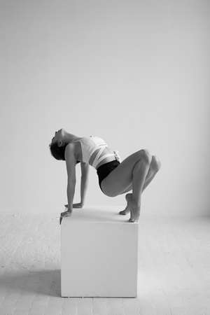 Beautiful ballet dancer posing in the Studio performing the deflection in the back and leaning on a big cube silhouette black and white 写真素材