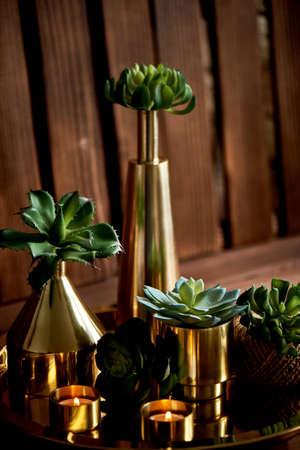 Cozy decor. Gold , burning candles Golden vessels succulents Foto de archivo - 123525315