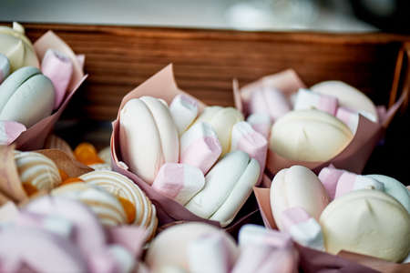 Bags of marshmallows, gifts , compliments to guests at a wedding or childrens birthday.