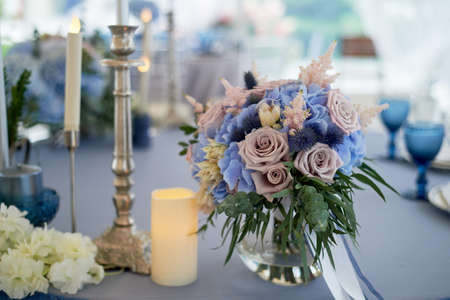 Wedding decoration of the Banquet hall for the wedding in blue. Hydrangea.