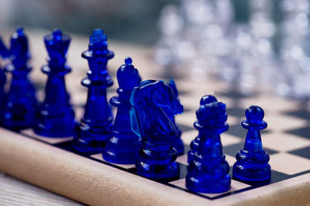 blue chess. Knight on the chessboard. Closely