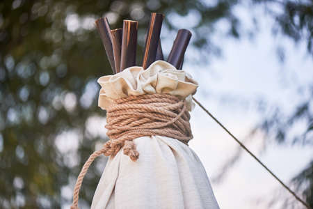 Boho style, wedding decoration. Ease and simplicity. The top of the hut is made of bamboo, covered with fabric. Boho style