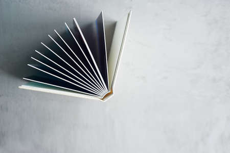 Photobook in hard leather cover on a gray concrete background. Making photos and storing them. A wedding album or book in an expensive binding. Stock Photo