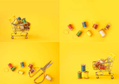 Colored coils with threads on a yellow background.Handicrafts and sewing. Фото со стока