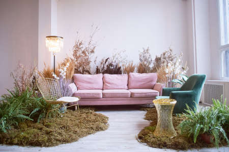 The interior is eco-style. Pink sofa with voluminous pillow. Moss on the floor, cereals, fern, pampas and dried flowers. Pastel wreaths. Standard-Bild