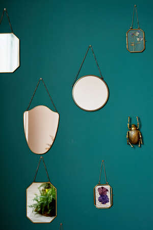 Green wall, noble hue. Hang a mirror, a golden beetle and a framed herbarium. Decoration of the interior.