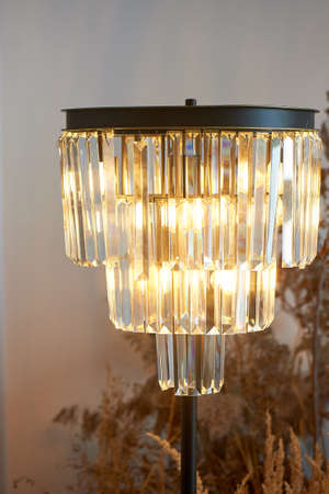 Lamp is a floor lamp with warm light and glass surrounded by cereals. Stylish interior in eco-style.
