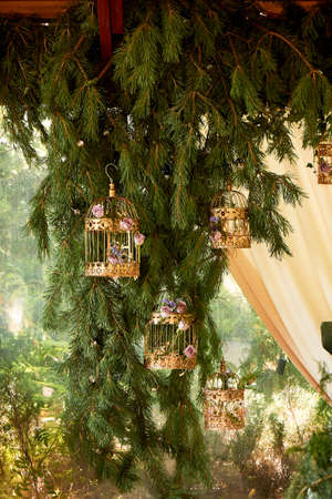 Wedding decor. Golden cages with flowers hang on spruce paws. Eco-design.