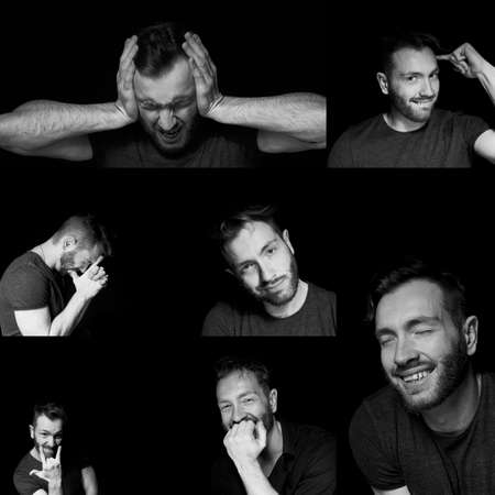 A man on a black background with different expressions of emotions. A collage of emotional states. Standard-Bild