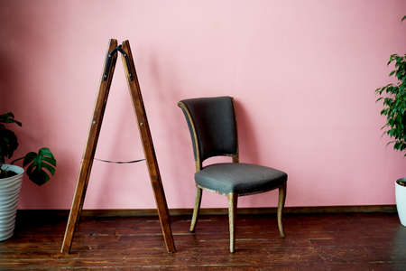 Classic chair on a pink wall background. Pots with plants Standard-Bild