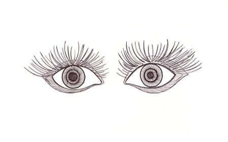 eyelid: Drawn eyes. Scared expressive look. Graphic style. Black pen. Stock Photo