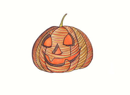 painted hands: Pumpkin. Drawn with colored pencils. Painted hands. Graphic style.