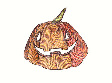 fruit stalk: Pumpkin. Drawn with colored pencils. Painted hands. Graphic style.