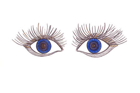 blue eyes: Drawn blue eyes. Scared expressive look. Graphic style. Colorful pencil.
