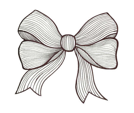 gift ribbon: Graphic bow. Black and white Stock Photo