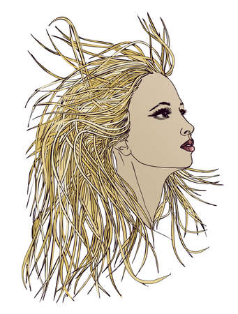 blondie: Profile of beautiful woman with waving hair.Graphic style.