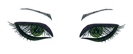 eyelid: Drawn eyes.Graphic style