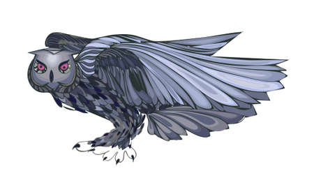Graphic illustration of flying owl. Brown