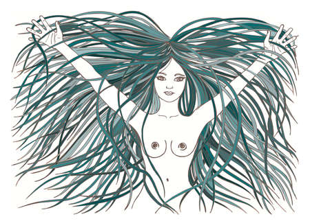 naked woman: beautiful naked woman. Raised hands. palms. mermaid