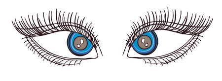 stare: Drawn eyes.Graphic style