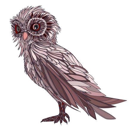 graphic illustration: Graphic illustration owl. Hand drawn.