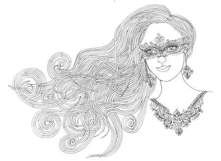 hair mask: The girl in the mask and necklace.beautiful girl with her hair in mask.Graphic style.Drawn black pen