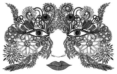 visage de femme dans un masque de fleurs
