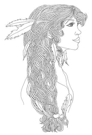 Beautiful Indian woman profile with creative colorful braid and fashion earrings. Pen hand-drawn portrait.