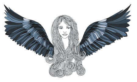 angel alone: Beautiful Angel with blue wings. Stock Photo