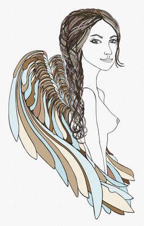 angel alone: Beautiful Angel with creative braid.